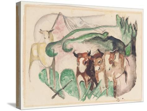 Animals in a Landscape (Three Cows and a Horse), 1913-Franz Marc-Stretched Canvas Print