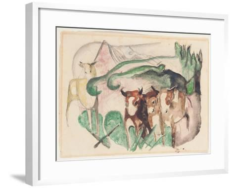 Animals in a Landscape (Three Cows and a Horse), 1913-Franz Marc-Framed Art Print