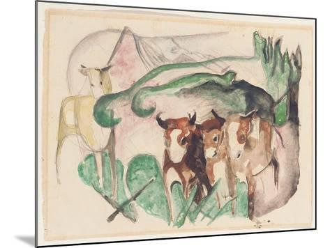 Animals in a Landscape (Three Cows and a Horse), 1913-Franz Marc-Mounted Giclee Print