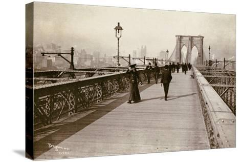 The Brooklyn Bridge Promenade, Looking Towards Manhattan, 1903-Joseph Byron-Stretched Canvas Print
