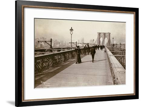 The Brooklyn Bridge Promenade, Looking Towards Manhattan, 1903-Joseph Byron-Framed Art Print