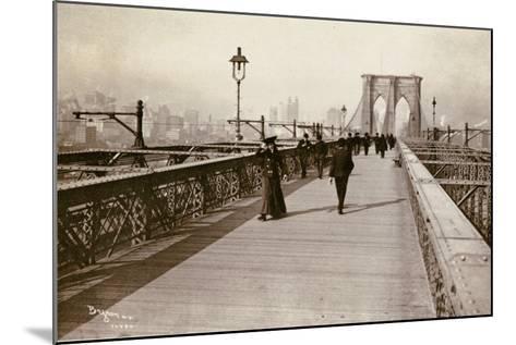 The Brooklyn Bridge Promenade, Looking Towards Manhattan, 1903-Joseph Byron-Mounted Giclee Print