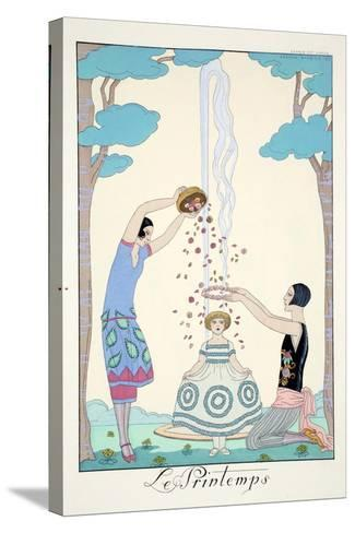 Spring, from 'Falbalas and Fanfreluches, Almanach des Modes Pr?sentes, Pass?es et Futures', 1926-Georges Barbier-Stretched Canvas Print