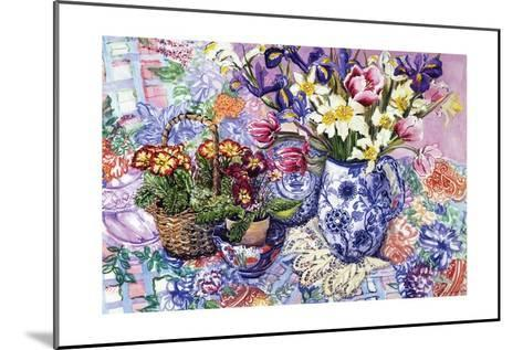 Daffodils, Tulips and Iris in a Jacobean Blue and White Jug with Sanderson Fabric and Primroses,?-Joan Thewsey-Mounted Giclee Print