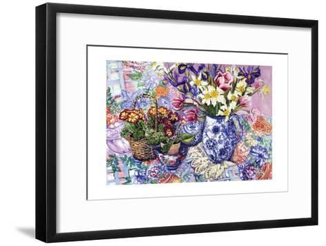 Daffodils, Tulips and Iris in a Jacobean Blue and White Jug with Sanderson Fabric and Primroses,?-Joan Thewsey-Framed Art Print