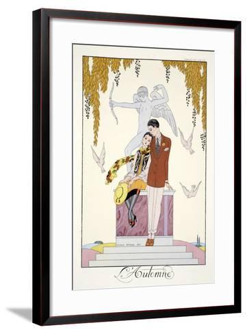 Autumn, from 'Falbalas and Fanfreluches, Almanach des Modes Pr?sentes, Pass?es et Futures', 1926-Georges Barbier-Framed Art Print