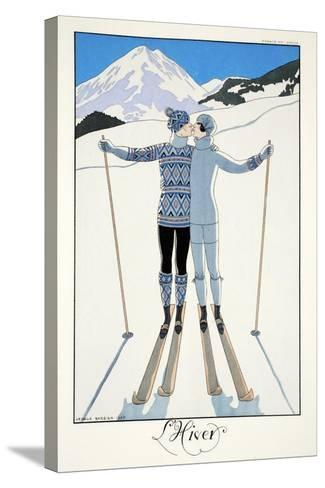 Winter, from 'Falbalas and Fanfreluches, Almanach des Modes Pr?sentes, Pass?es et Futures', 1926-Georges Barbier-Stretched Canvas Print