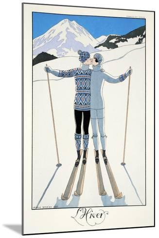 Winter, from 'Falbalas and Fanfreluches, Almanach des Modes Pr?sentes, Pass?es et Futures', 1926-Georges Barbier-Mounted Giclee Print