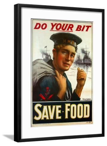 """WW1 Poster Urging You to """"Do Your Bit - Save Food"""" 1917-Maurice Randall-Framed Art Print"""