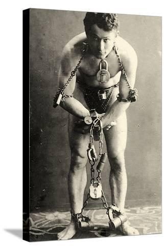 Portrait of Harry Houdini in Chains. c.1900-American School-Stretched Canvas Print