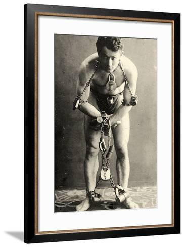Portrait of Harry Houdini in Chains. c.1900-American School-Framed Art Print