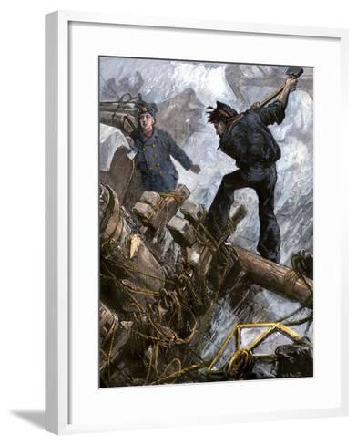Sailors Cutting Away the Masts to Save Their Ship in a Storm, 1800s--Framed Art Print