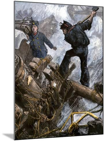 Sailors Cutting Away the Masts to Save Their Ship in a Storm, 1800s--Mounted Giclee Print