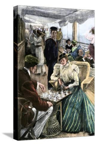 Passengers' Afternoon Recreation on the Deck of a P & O Steamship Circa 1900--Stretched Canvas Print