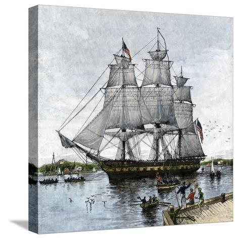 "USS ""Constitution"" Being Towed Out of Boston Harbor, 1812--Stretched Canvas Print"