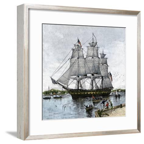 "USS ""Constitution"" Being Towed Out of Boston Harbor, 1812--Framed Art Print"