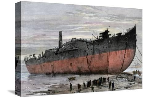 """Wrecked Hull of the Steamship """"Great Eastern"""" at New Ferry, England, 1889--Stretched Canvas Print"""