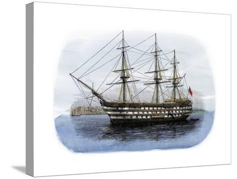 """Lord Nelson's Ship HMS """"Victory"""" in Portsmouth Harbor, 1800s--Stretched Canvas Print"""