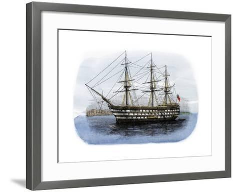 """Lord Nelson's Ship HMS """"Victory"""" in Portsmouth Harbor, 1800s--Framed Art Print"""
