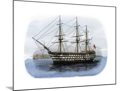 """Lord Nelson's Ship HMS """"Victory"""" in Portsmouth Harbor, 1800s--Mounted Giclee Print"""