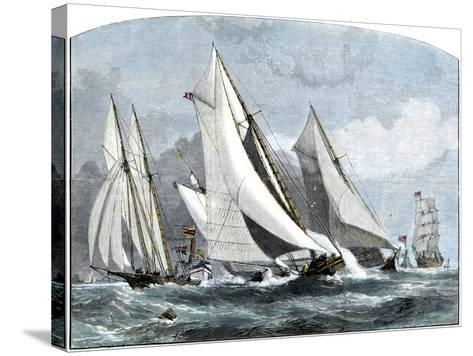 """Atlanta, """"Tidal Wave,"""" and """"Mischief"""" in An America's Cup Race Off Sandy Hook, NJ, 1881--Stretched Canvas Print"""