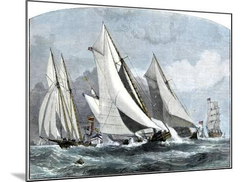 """Atlanta, """"Tidal Wave,"""" and """"Mischief"""" in An America's Cup Race Off Sandy Hook, NJ, 1881--Mounted Giclee Print"""