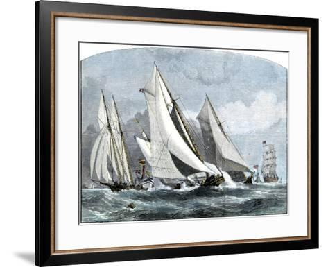 """Atlanta, """"Tidal Wave,"""" and """"Mischief"""" in An America's Cup Race Off Sandy Hook, NJ, 1881--Framed Art Print"""