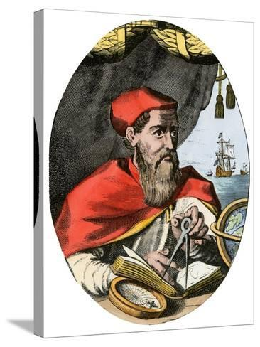 Vespucius Holding Compass & Calipers, Overlooking Sea--Stretched Canvas Print