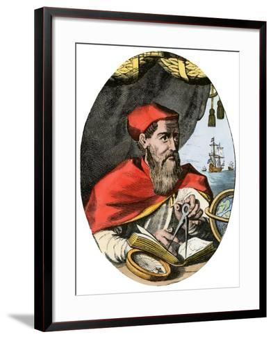 Vespucius Holding Compass & Calipers, Overlooking Sea--Framed Art Print