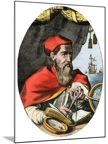 Vespucius Holding Compass & Calipers, Overlooking Sea--Mounted Giclee Print