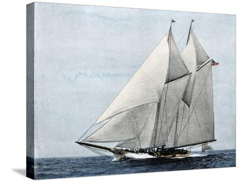 "Yacht ""America,"" First Winner of the America's Cup Race, in a Later Rig--Stretched Canvas Print"
