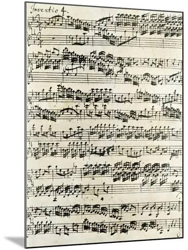 Original Manuscript of Bach's Eighth Invention--Mounted Giclee Print