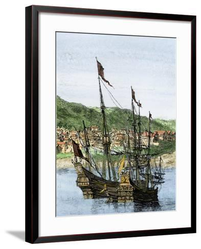 Spanish Ships in a Colonial Port--Framed Art Print