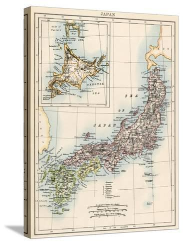 Map of Japan, 1870s--Stretched Canvas Print