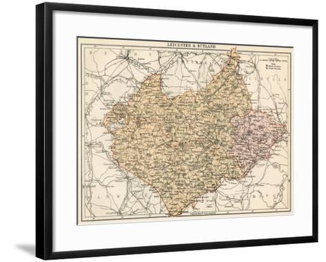 Map of Leicestershire and Rutland, England, 1870s--Framed Art Print