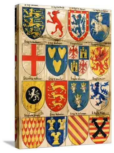 Shields with Arms of Mostly Mythical Sovereigns, Made by An English Painter, 1400s--Stretched Canvas Print
