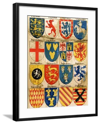 Shields with Arms of Mostly Mythical Sovereigns, Made by An English Painter, 1400s--Framed Art Print