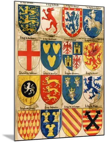 Shields with Arms of Mostly Mythical Sovereigns, Made by An English Painter, 1400s--Mounted Giclee Print