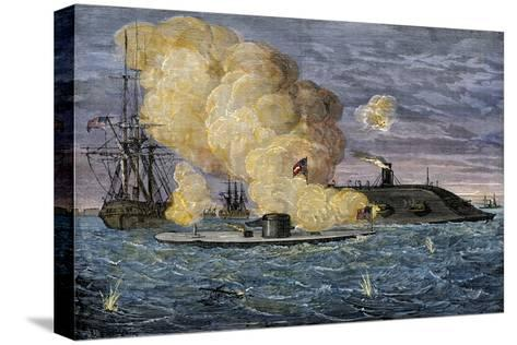 Battle Between the Monitor and the Merrimac, Hampton Roads, 1862--Stretched Canvas Print