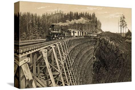 Island Railway Crossing Arbutus Canyon, British Columbia, 1800s--Stretched Canvas Print