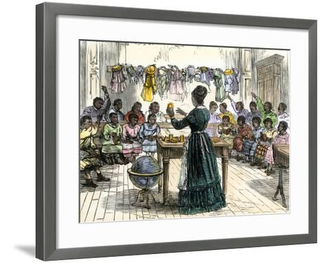 """Teaching Objects to Children in a """"colored School,"""" New York City, 1870--Framed Art Print"""