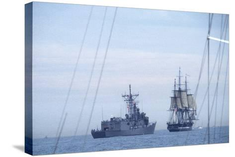 """USS Constitution """"Old Ironsides"""" Under Sail, Escorted by Modern US Navy Frigate, 1997--Stretched Canvas Print"""