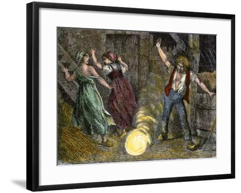 Farm Family Frightened by Ball Lightning--Framed Art Print