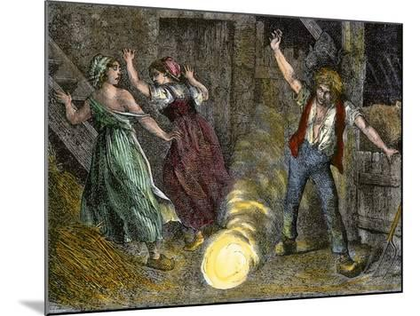 Farm Family Frightened by Ball Lightning--Mounted Giclee Print