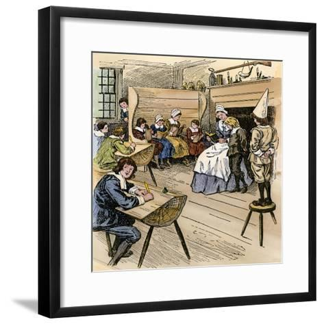 Colonial Schoolroom with a Child in a Dunce Cap--Framed Art Print