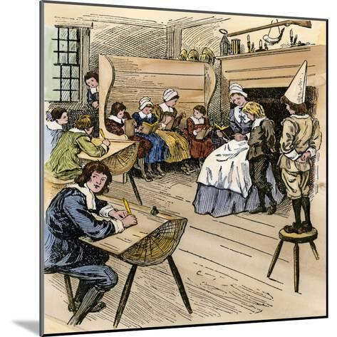 Colonial Schoolroom with a Child in a Dunce Cap--Mounted Giclee Print
