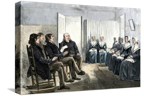 Shakers at a Singing Meeting, Lebanon, New York, 1870s--Stretched Canvas Print