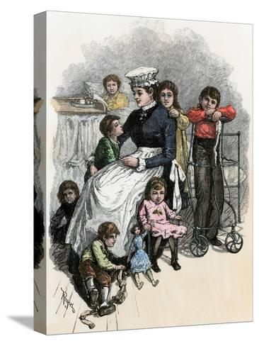 Children's Ward nurse with Her Patients at Bellevue Hospital, New York City, 1870s--Stretched Canvas Print