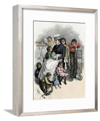 Children's Ward nurse with Her Patients at Bellevue Hospital, New York City, 1870s--Framed Art Print