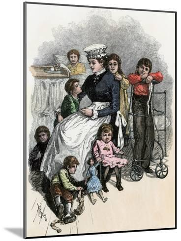 Children's Ward nurse with Her Patients at Bellevue Hospital, New York City, 1870s--Mounted Giclee Print